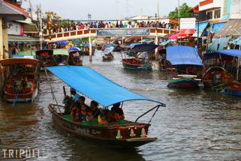 【終了】8/13(月) 蛍がきらめく川をボートで遊覧 アンパワー水上マーケットとメークロン線路市場も巡る半日ツアーのツアー画像